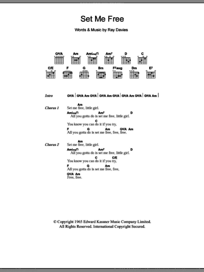 Set Me Free Sheet Music For Guitar Chords By The Kinks And Ray Davies