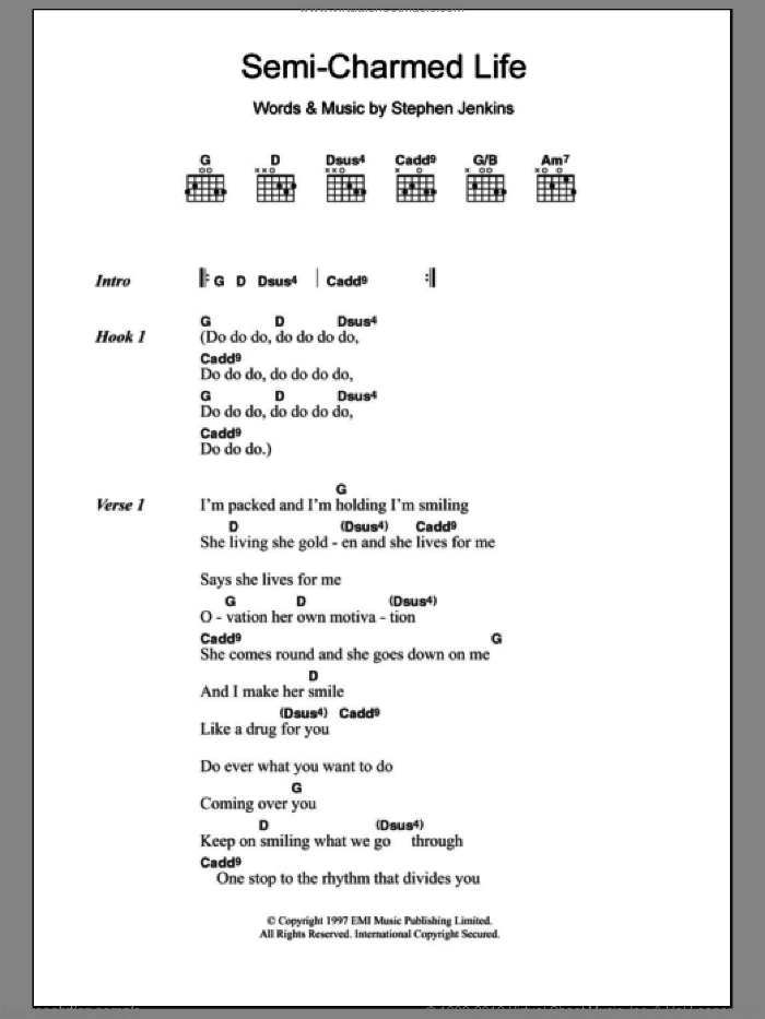 Semi-Charmed Life sheet music for guitar (chords) by Stephan Jenkins and Third Eye Blind