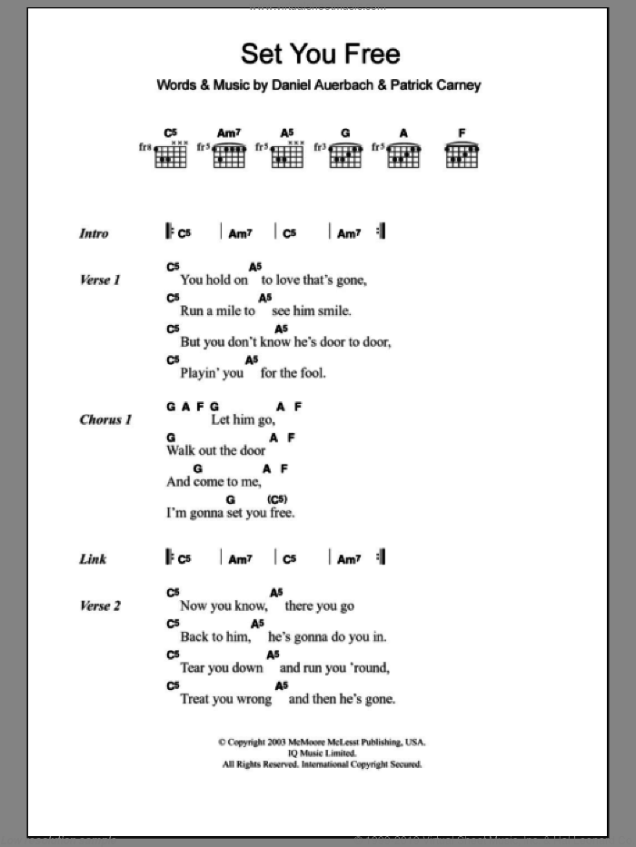 Set You Free sheet music for guitar (chords) by Patrick Carney and Daniel Auerbach. Score Image Preview.