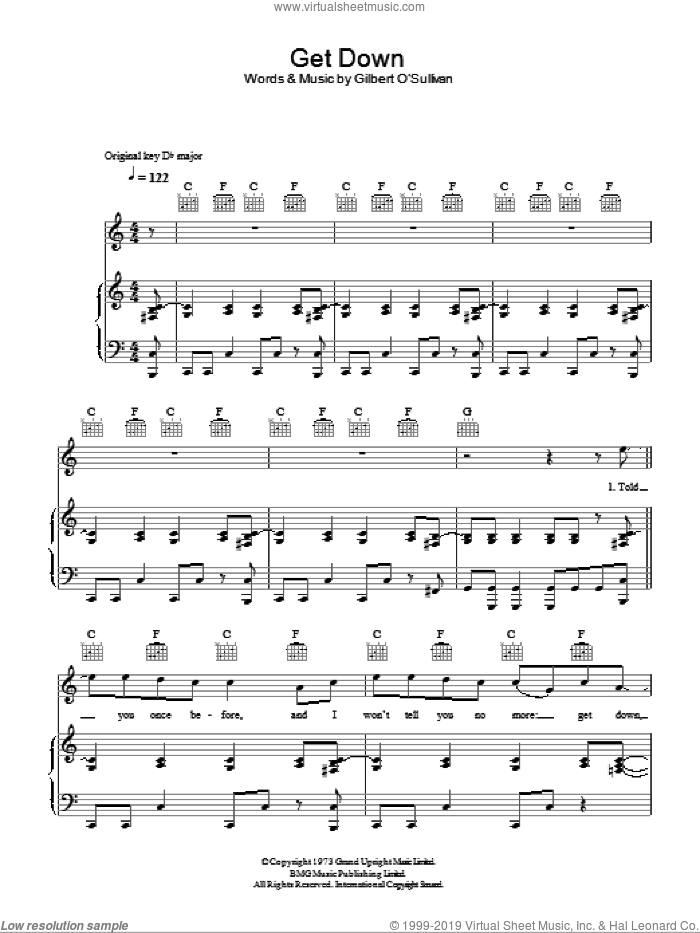 Get Down sheet music for voice, piano or guitar by Gilbert O'Sullivan