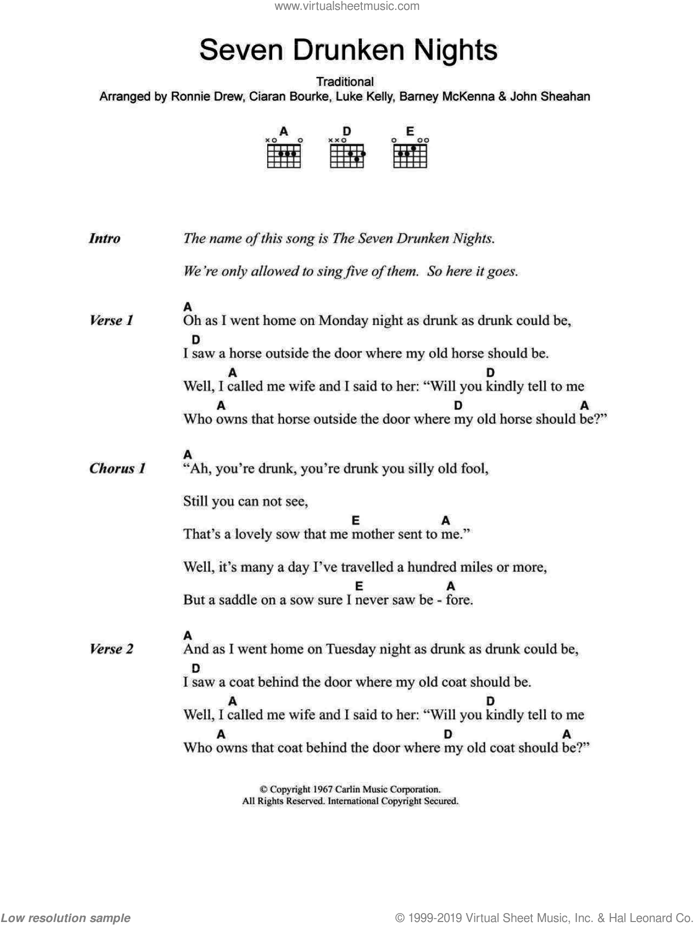 Seven Drunken Nights sheet music for guitar (chords) by The Dubliners, Barney McKenna, Ciaran Bourke, John Sheahan, Luke Kelly, Ronnie Drew and Miscellaneous, intermediate. Score Image Preview.
