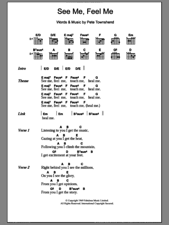Who - See Me, Feel Me sheet music for guitar (chords) [PDF]