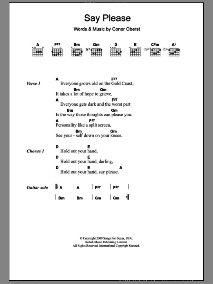 Say Please sheet music for guitar (chords) by Conor Oberst. Score Image Preview.