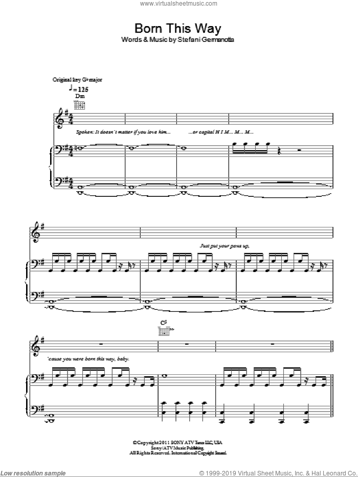 Born This Way sheet music for voice, piano or guitar by Lady GaGa, intermediate skill level