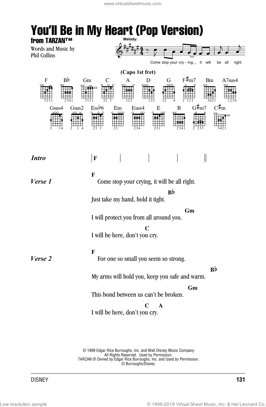 You'll Be In My Heart (Pop Version) sheet music for guitar (chords) by Phil Collins. Score Image Preview.