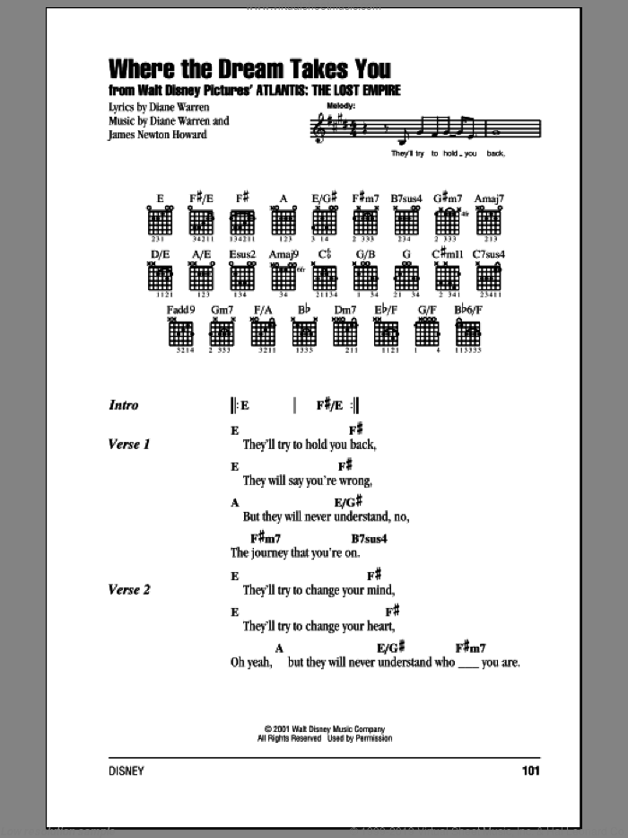 Warren - Where The Dream Takes You sheet music for guitar (chords)