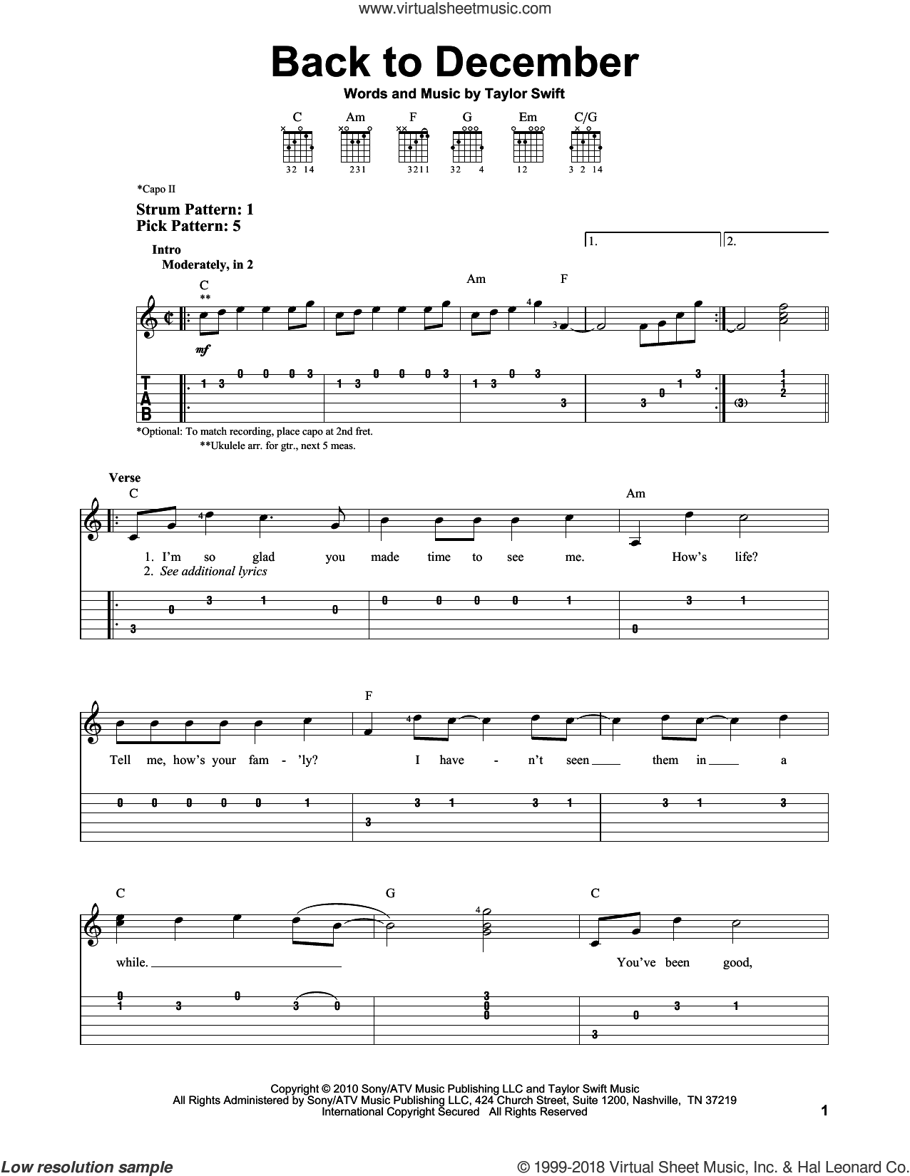 Back To December sheet music for guitar solo (easy tablature) by Taylor Swift. Score Image Preview.
