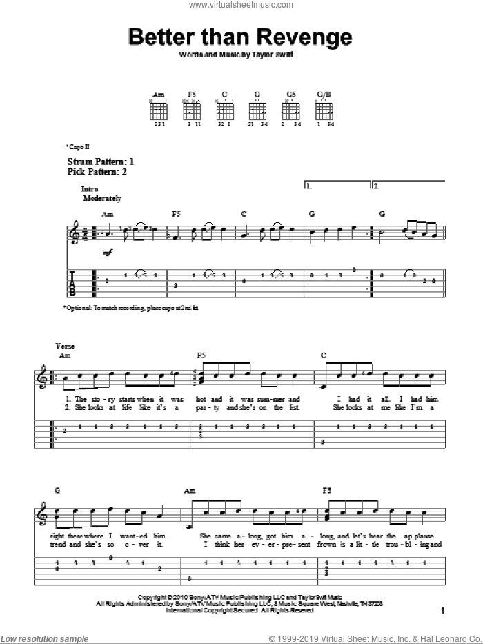 Better Than Revenge sheet music for guitar solo (easy tablature) by Taylor Swift, easy guitar (easy tablature). Score Image Preview.