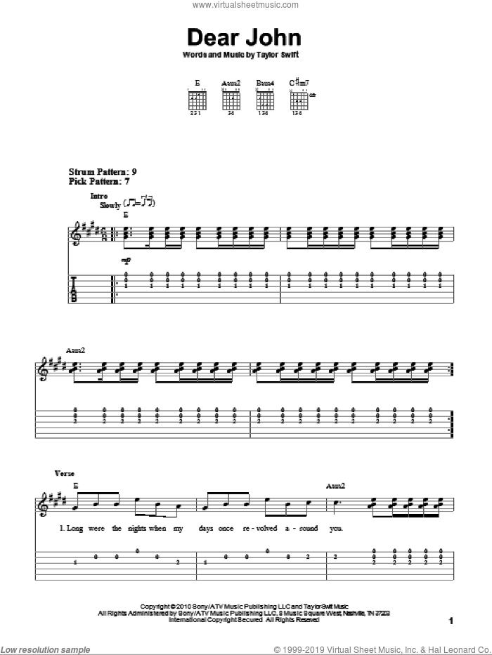 Dear John sheet music for guitar solo (easy tablature) by Taylor Swift. Score Image Preview.