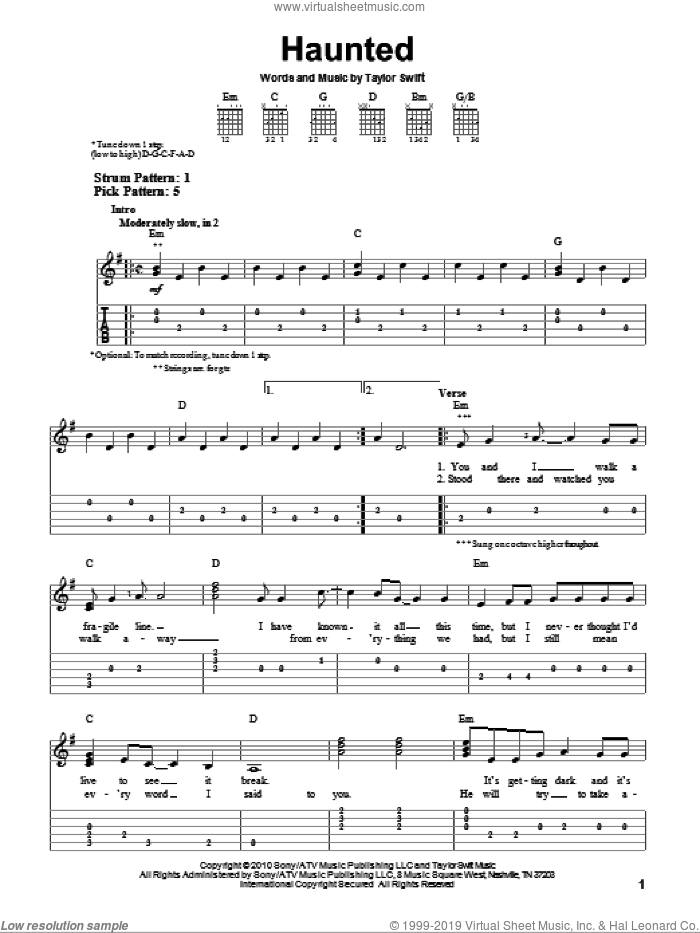 Haunted sheet music for guitar solo (easy tablature) by Taylor Swift. Score Image Preview.