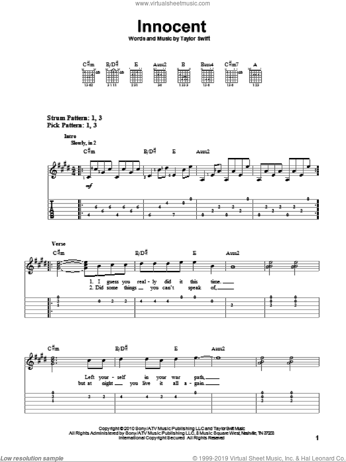 Innocent sheet music for guitar solo (easy tablature) by Taylor Swift. Score Image Preview.