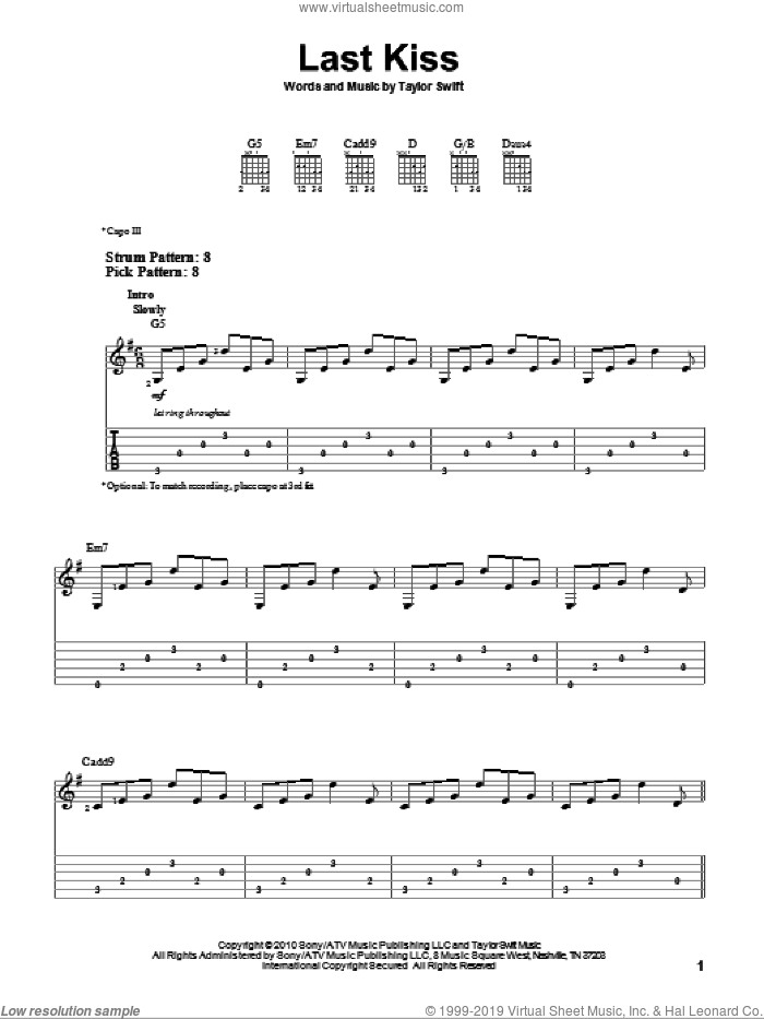 Last Kiss sheet music for guitar solo (easy tablature) by Taylor Swift. Score Image Preview.