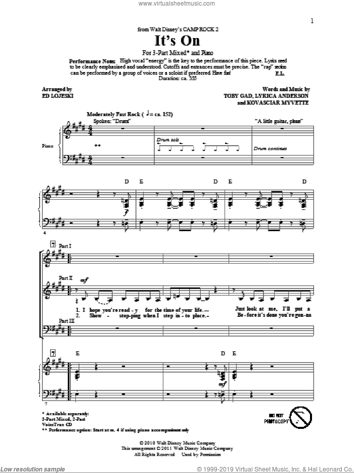 It's On sheet music for choir (chamber ensemble) by Kovasciar Myvette, Ed Lojeski, Lyrica Anderson and Toby Gad. Score Image Preview.