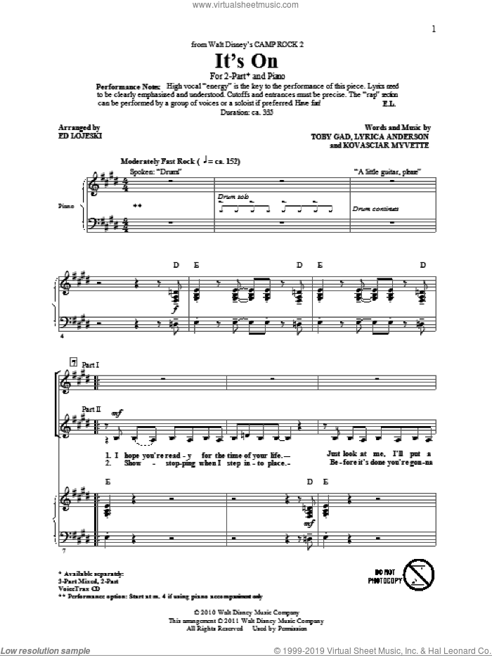 It's On sheet music for choir (duets) by Toby Gad and Ed Lojeski. Score Image Preview.