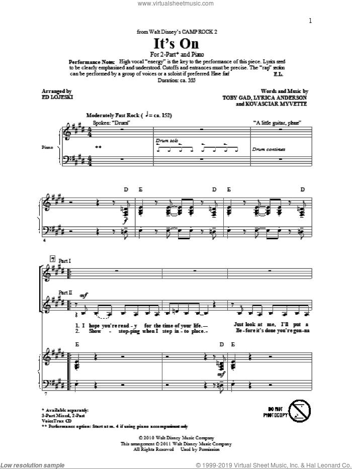 It's On (from Camp Rock 2) (arr. Ed Lojeski) sheet music for choir (2-Part) by Toby Gad, Demi Lovato, Kovasciar Myvette, Lyrica Anderson and Ed Lojeski, intermediate duet