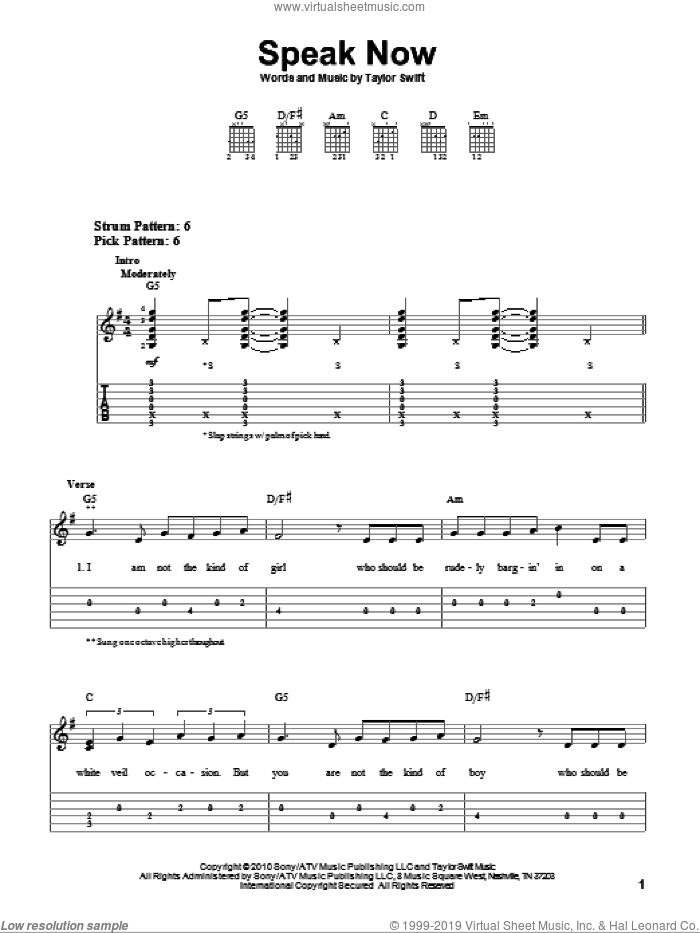 Speak Now sheet music for guitar solo (easy tablature) by Taylor Swift, easy guitar (easy tablature)
