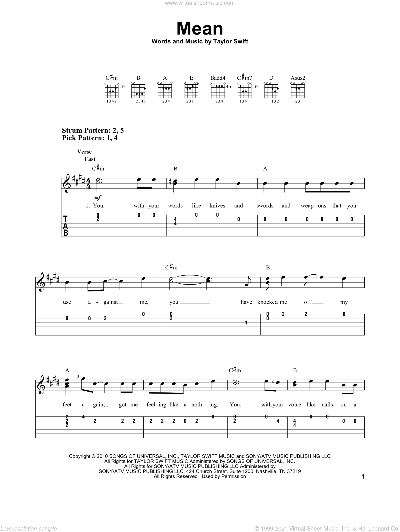 Mean sheet music for guitar solo (easy tablature) by Taylor Swift, easy guitar (easy tablature)