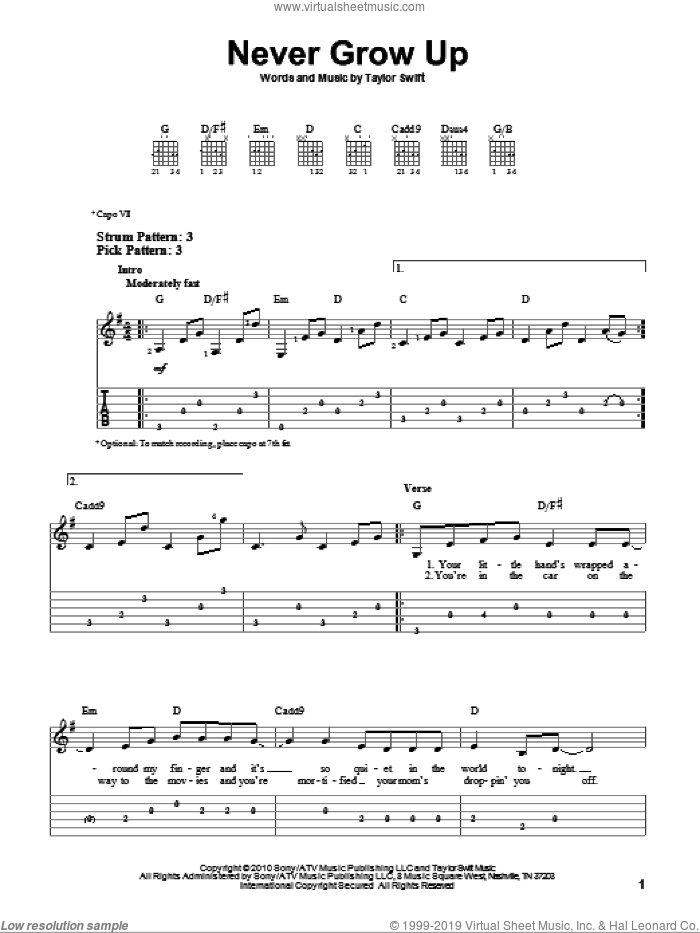 Never Grow Up sheet music for guitar solo (easy tablature) by Taylor Swift. Score Image Preview.