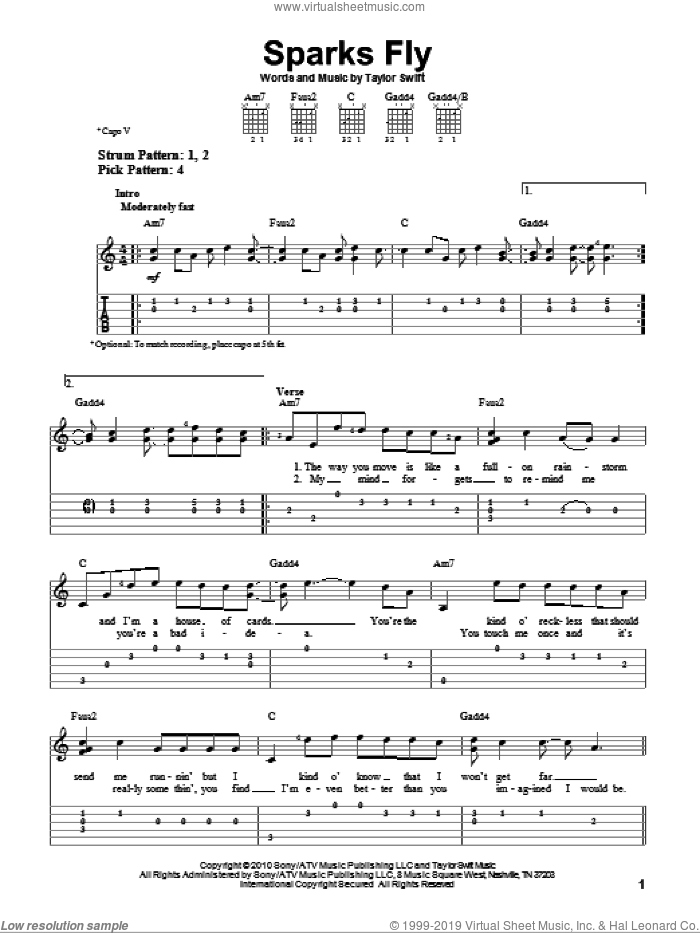 Sparks Fly sheet music for guitar solo (easy tablature) by Taylor Swift. Score Image Preview.