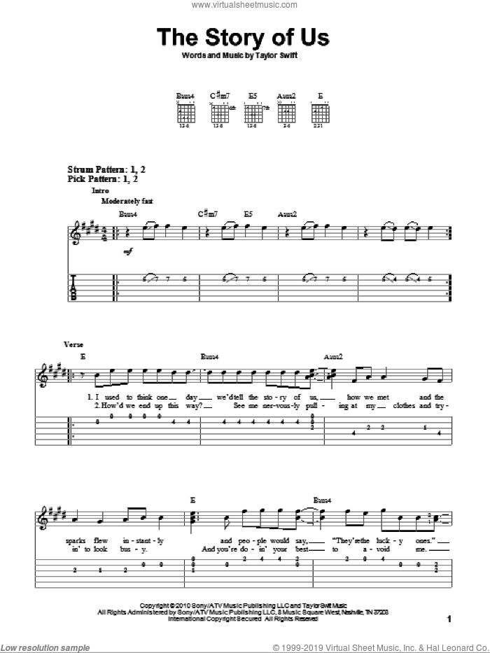 The Story Of Us sheet music for guitar solo (easy tablature) by Taylor Swift, easy guitar (easy tablature)