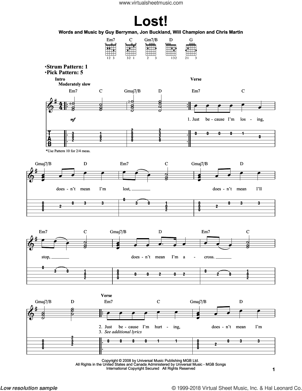 Lost! sheet music for guitar solo (easy tablature) by Coldplay. Score Image Preview.