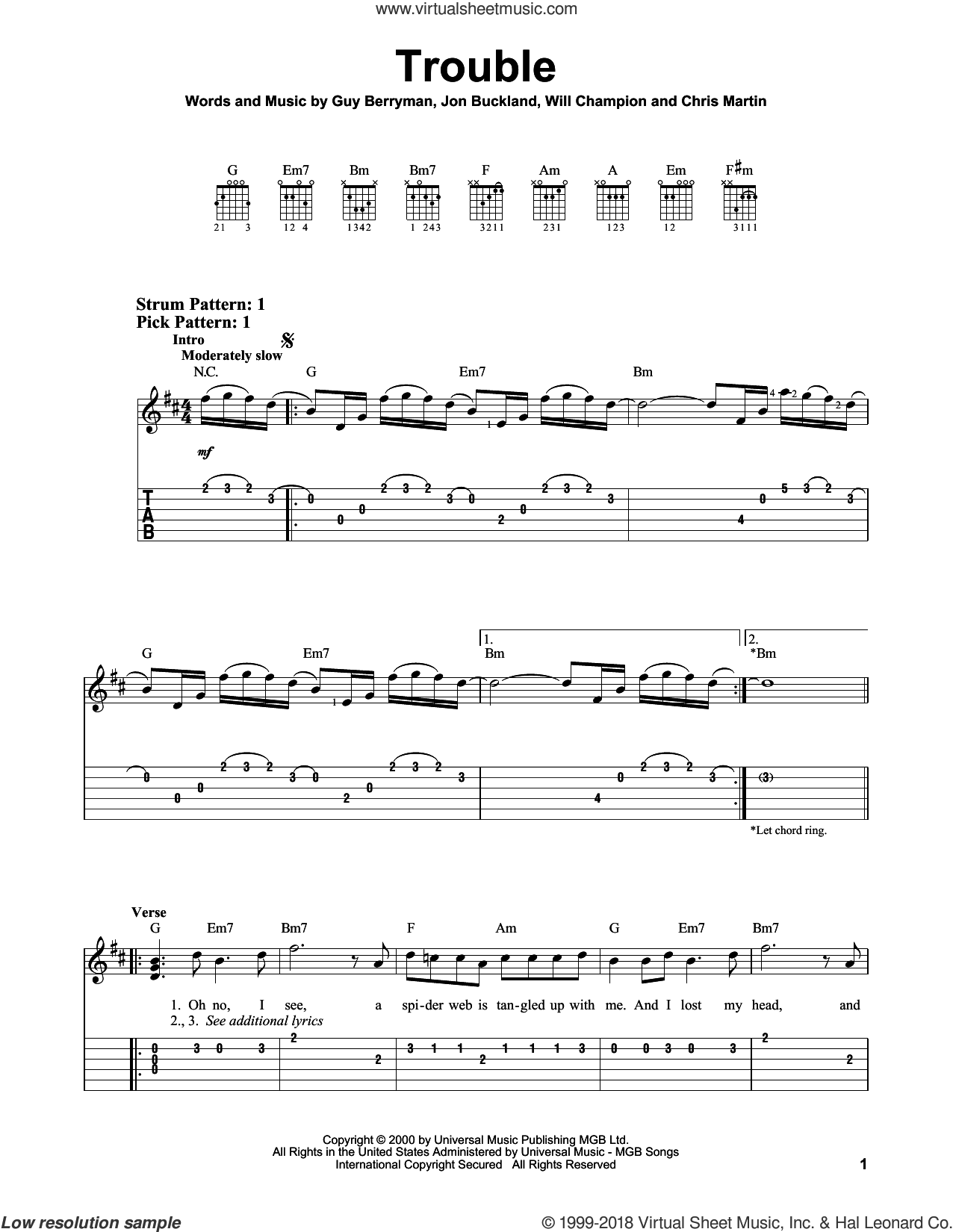 Trouble sheet music for guitar solo (easy tablature) by Coldplay, Chris Martin, Guy Berryman, Jon Buckland and Will Champion, easy guitar (easy tablature)
