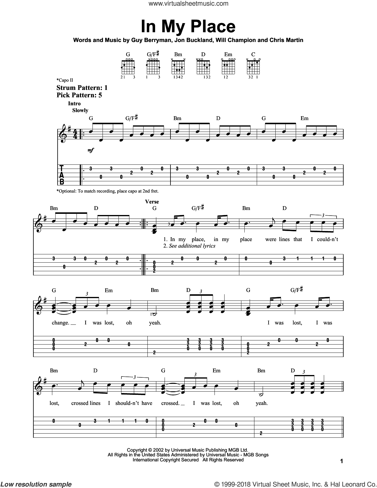 In My Place sheet music for guitar solo (easy tablature) by Will Champion, Coldplay, Chris Martin, Guy Berryman and Jon Buckland. Score Image Preview.