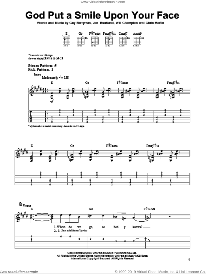 God Put A Smile Upon Your Face sheet music for guitar solo (easy tablature) by Will Champion, Coldplay, Chris Martin, Guy Berryman and Jon Buckland. Score Image Preview.