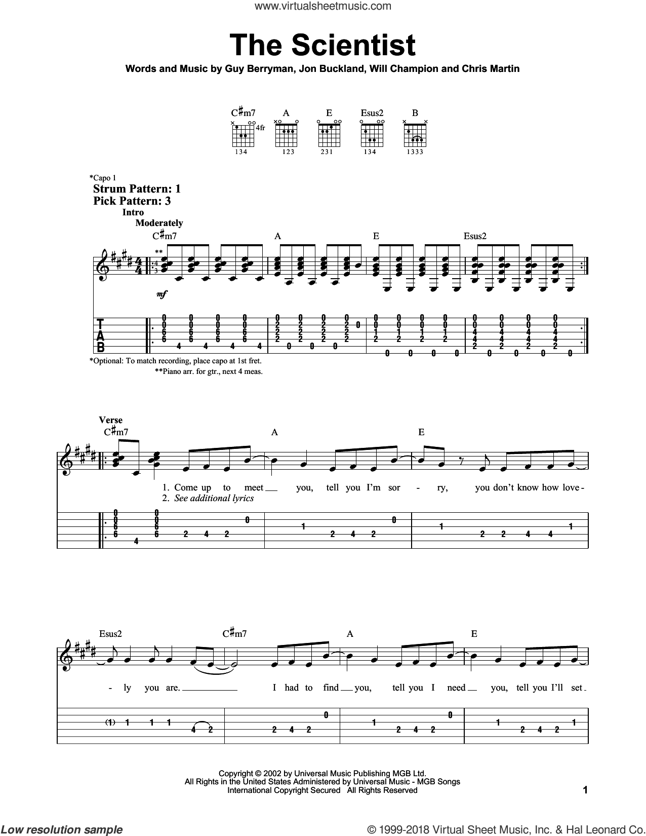 The Scientist sheet music for guitar solo (easy tablature) by Will Champion, Coldplay, Chris Martin, Guy Berryman and Jon Buckland. Score Image Preview.