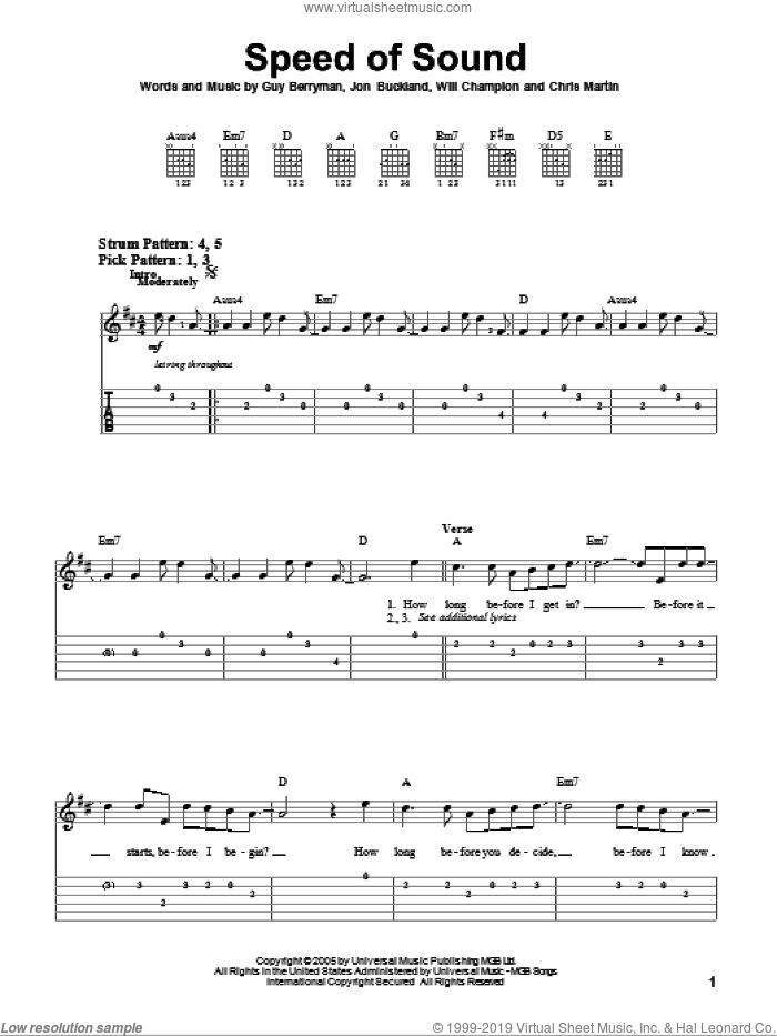 Speed Of Sound sheet music for guitar solo (easy tablature) by Coldplay, easy guitar (easy tablature). Score Image Preview.