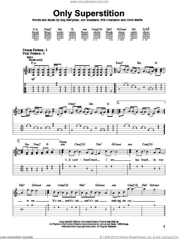 Only Superstition sheet music for guitar solo (easy tablature) by Coldplay, Chris Martin, Guy Berryman, Jon Buckland and Will Champion, easy guitar (easy tablature)