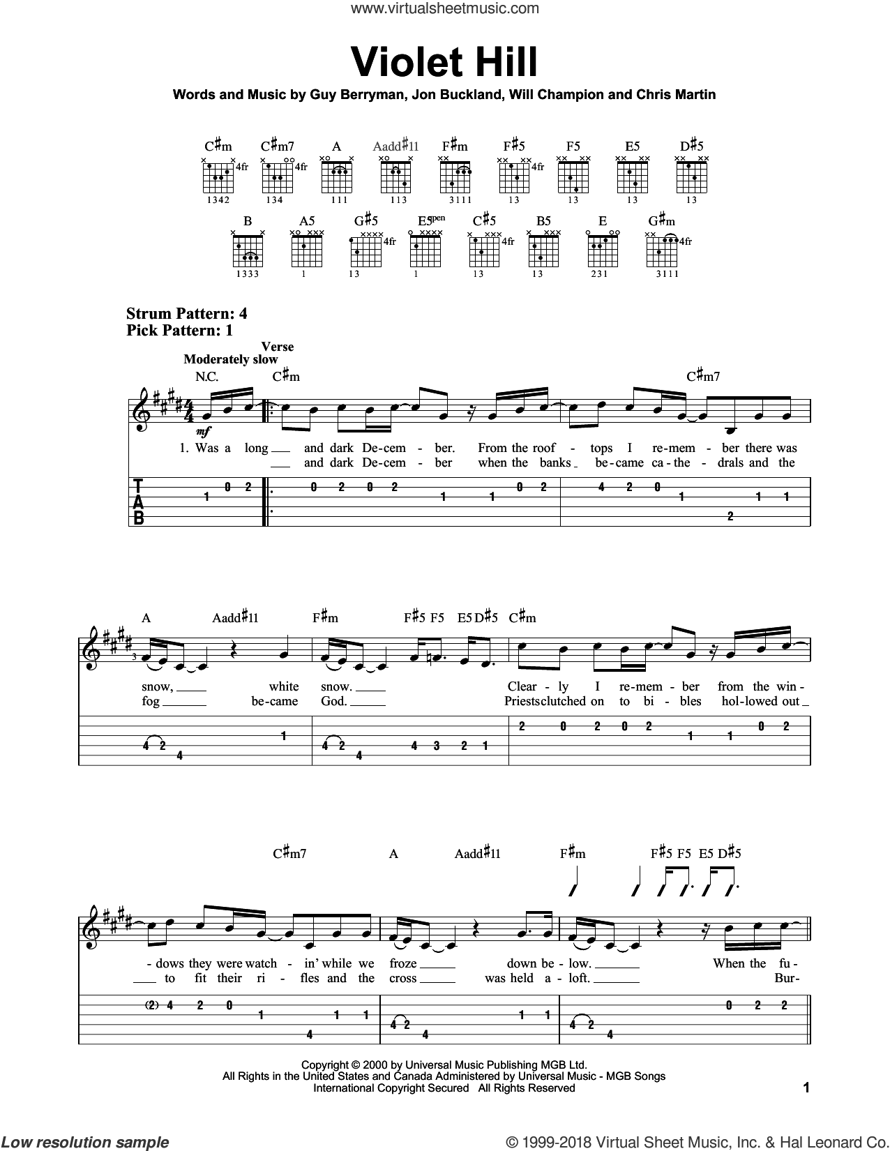 Violet Hill sheet music for guitar solo (easy tablature) by Will Champion, Coldplay, Chris Martin, Guy Berryman and Jon Buckland. Score Image Preview.