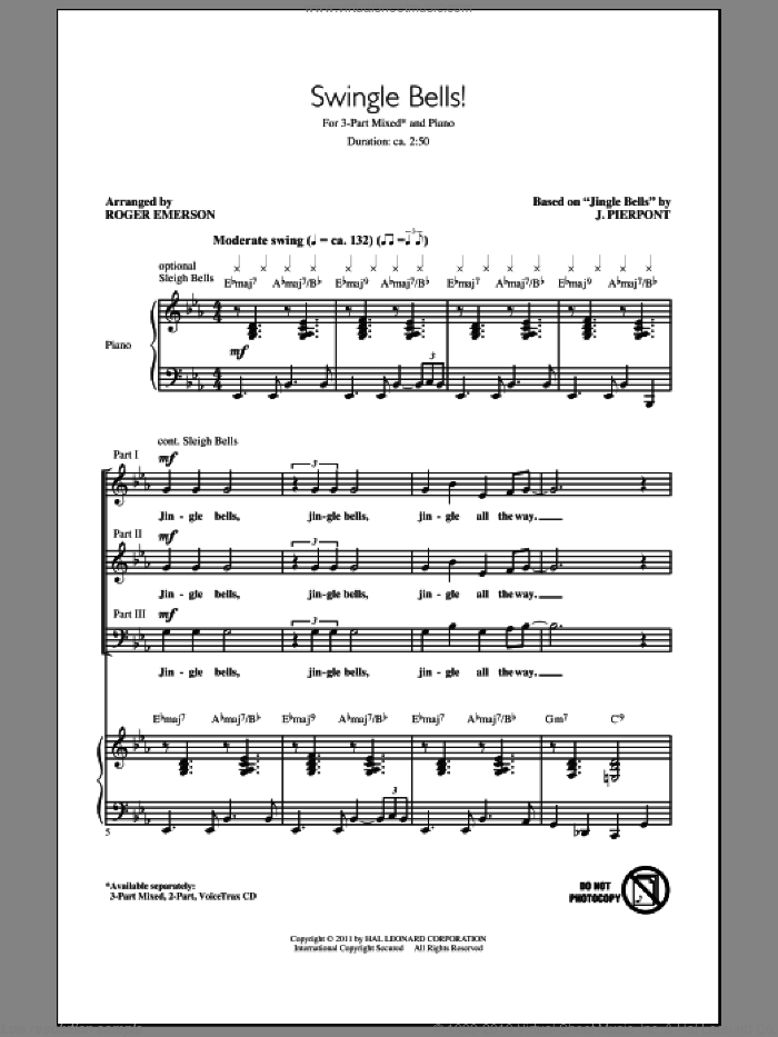 Swingle Bells! sheet music for choir (chamber ensemble) by James Pierpont and Roger Emerson. Score Image Preview.