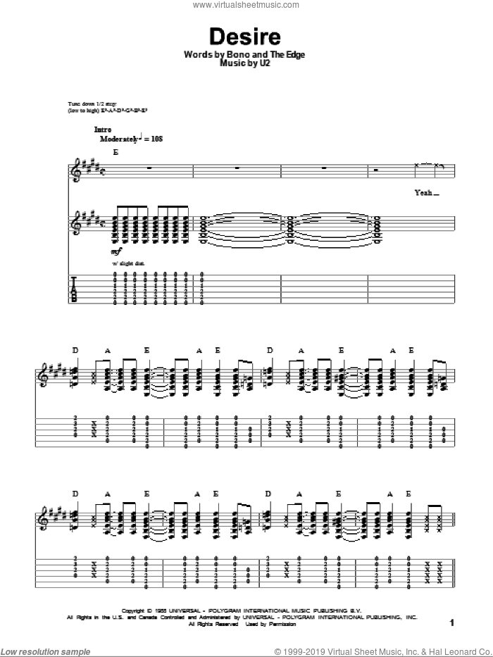 Desire sheet music for guitar (tablature, play-along) by The Edge, Bono and U2