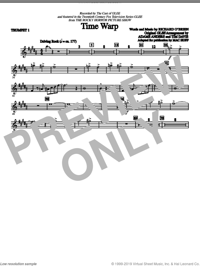 Time Warp (COMPLETE) sheet music for orchestra by Richard O'Brien, Glee Cast, Mac Huff and Miscellaneous. Score Image Preview.