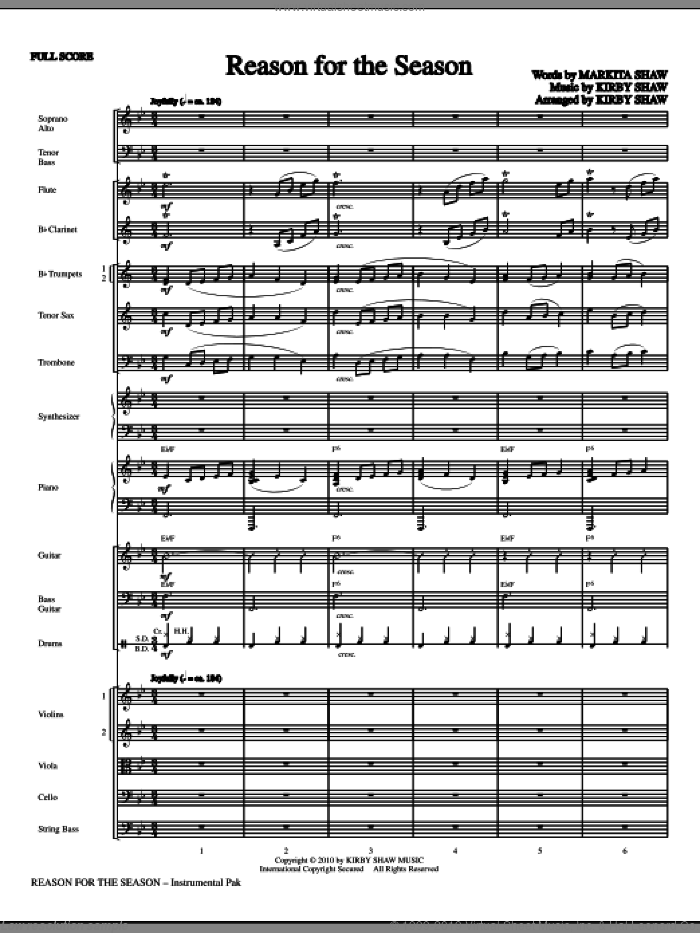 Reason For The Season (complete set of parts) sheet music for orchestra/band (Orchestra) by Kirby Shaw, Christmas carol score, intermediate orchestra. Score Image Preview.