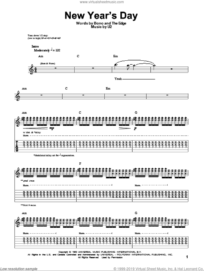 New Year's Day sheet music for guitar (tablature, play-along) by U2 and Bono, intermediate guitar (tablature, play-along). Score Image Preview.