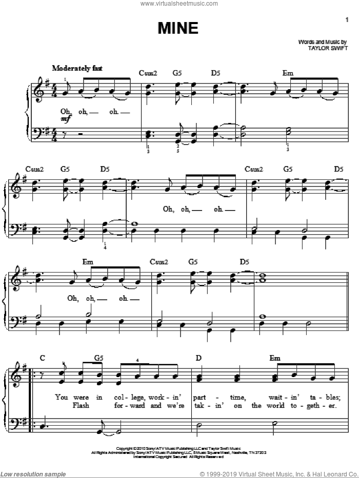 Mine, (easy) sheet music for piano solo by Taylor Swift, easy skill level