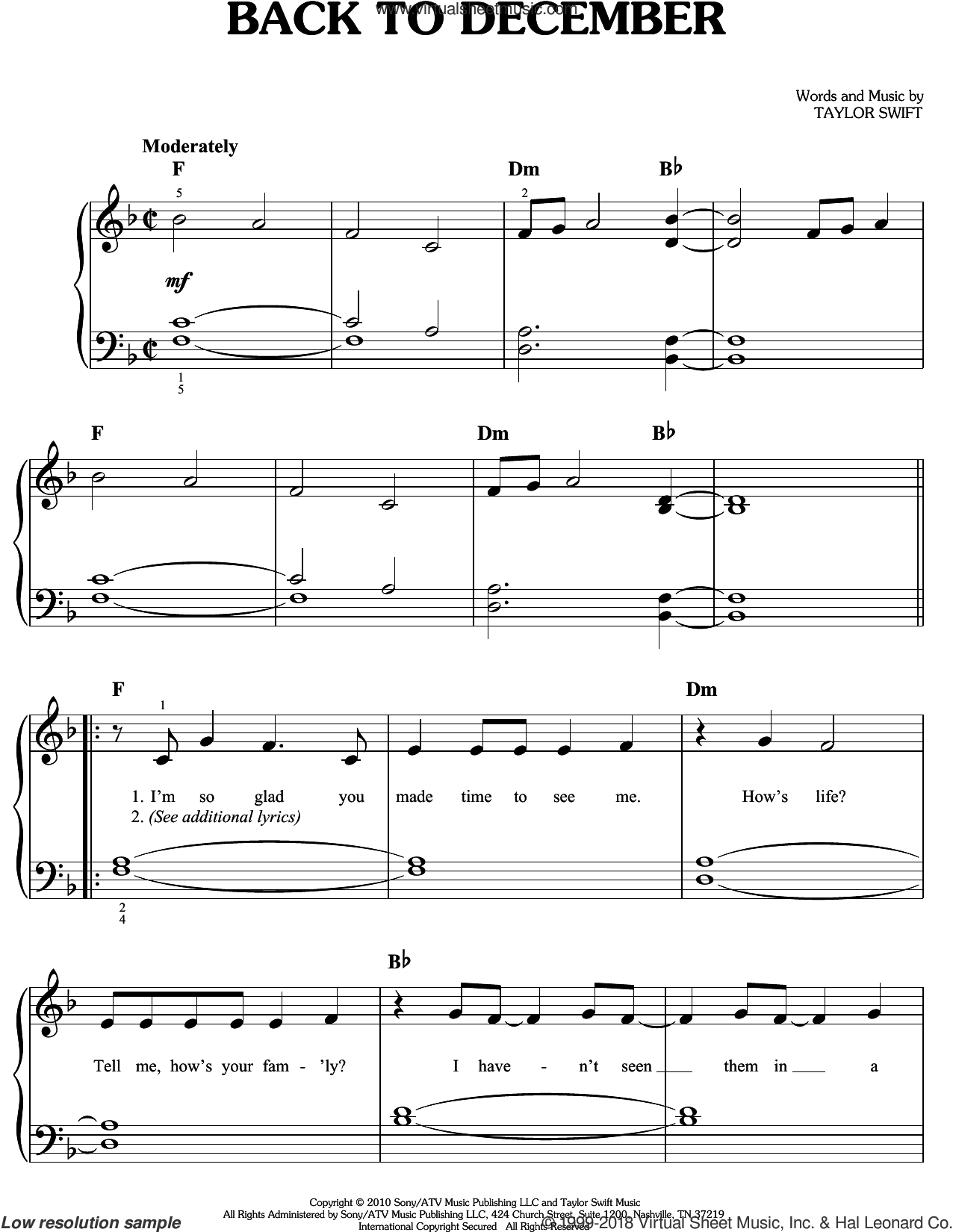 Back To December sheet music for piano solo by Taylor Swift. Score Image Preview.