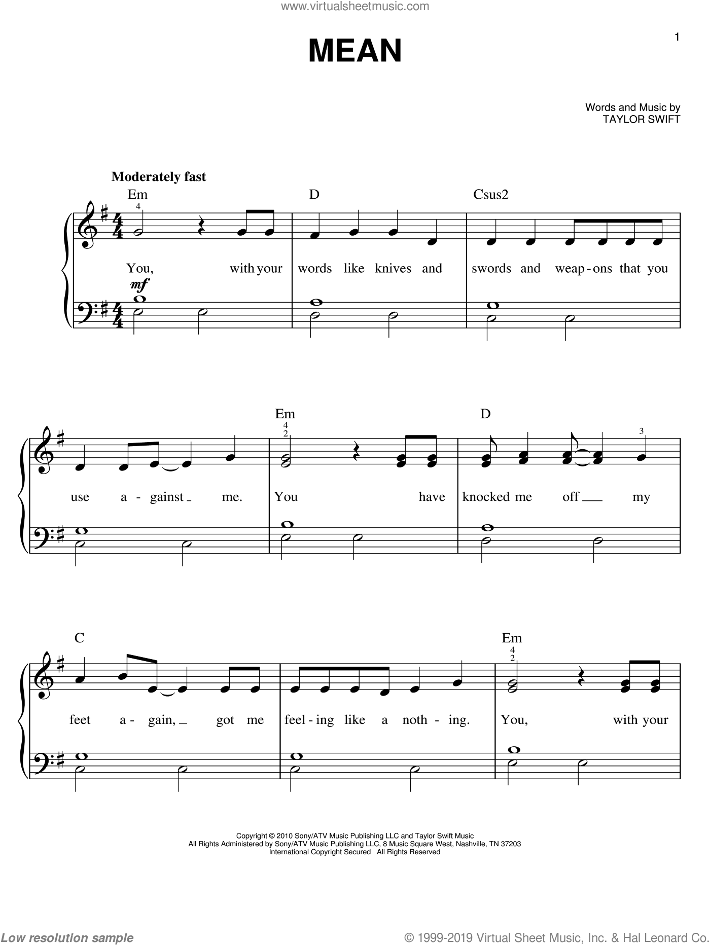 Mean sheet music for piano solo by Taylor Swift, easy. Score Image Preview.