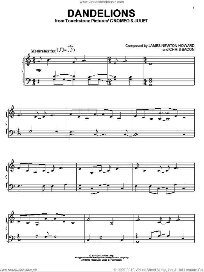 Dandelions sheet music for piano solo by Elton John, Gnomeo & Juliet (Movie), Bernie Taupin, Chris Bacon and James Newton Howard, intermediate. Score Image Preview.