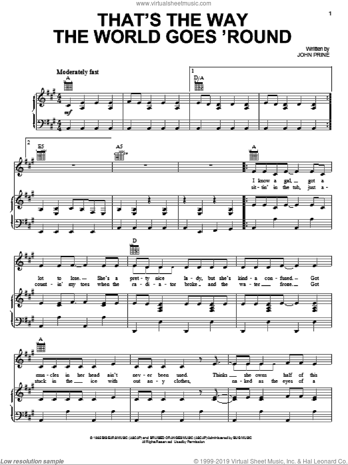 That's The Way The World Goes 'Round sheet music for voice, piano or guitar by Miranda Lambert and John Prine, intermediate skill level