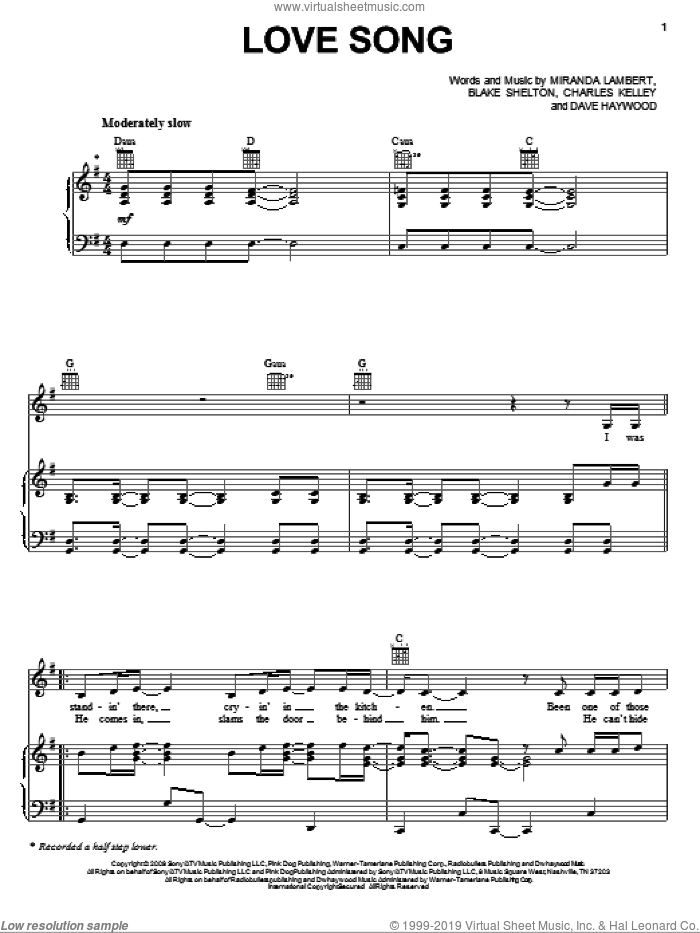 Love Song sheet music for voice, piano or guitar by Dave Haywood, Blake Shelton, Charles Kelley and Miranda Lambert. Score Image Preview.