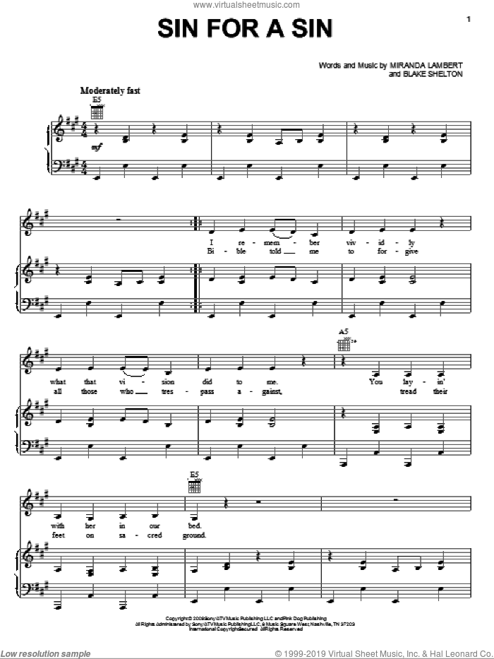 Sin For A Sin sheet music for voice, piano or guitar by Blake Shelton and Miranda Lambert. Score Image Preview.