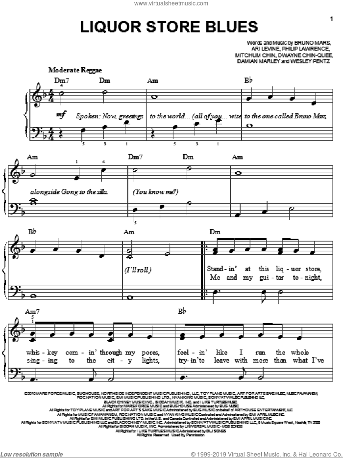Liquor Store Blues sheet music for piano solo by Bruno Mars, Ari Levine and Philip Lawrence, easy piano. Score Image Preview.