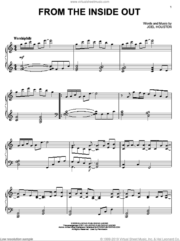 From The Inside Out sheet music for piano solo by Hillsong United and Joel Houston, intermediate skill level