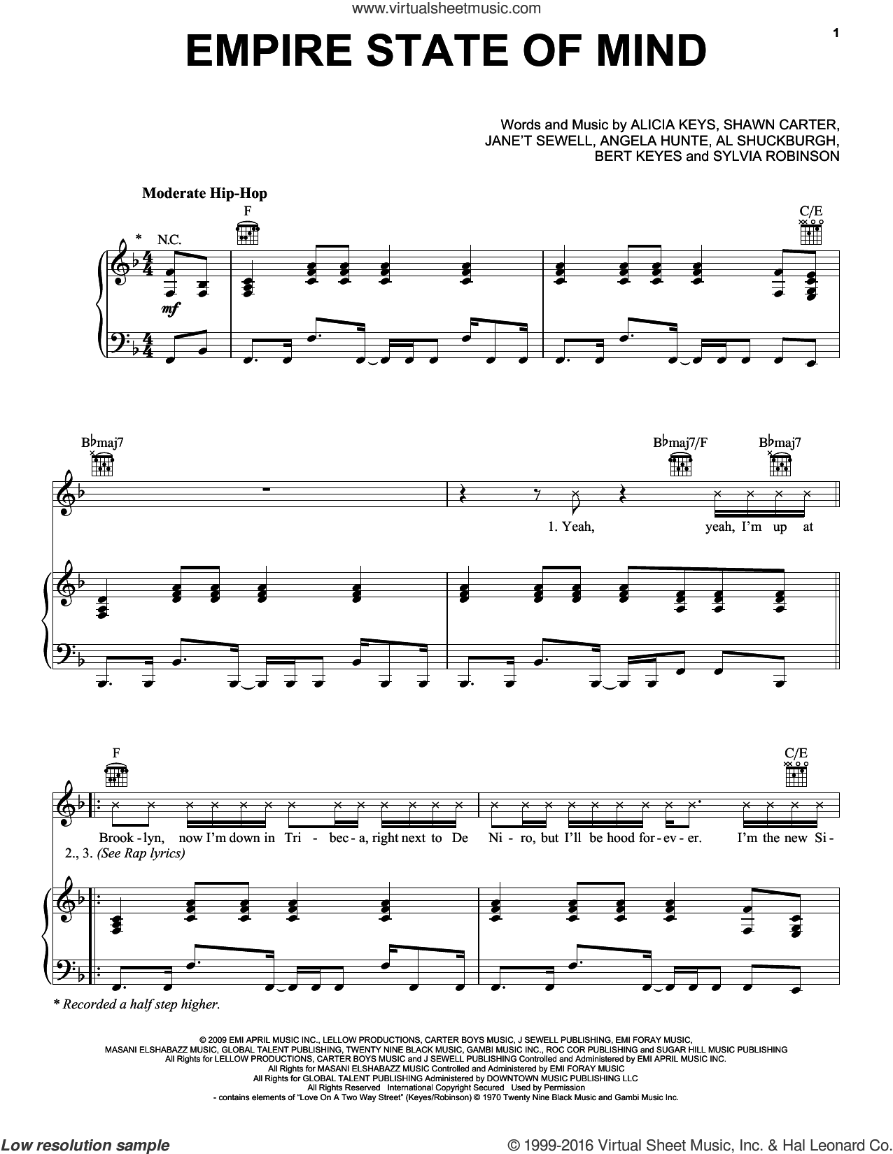 Empire State Of Mind sheet music for voice, piano or guitar by Sylvia Robinson