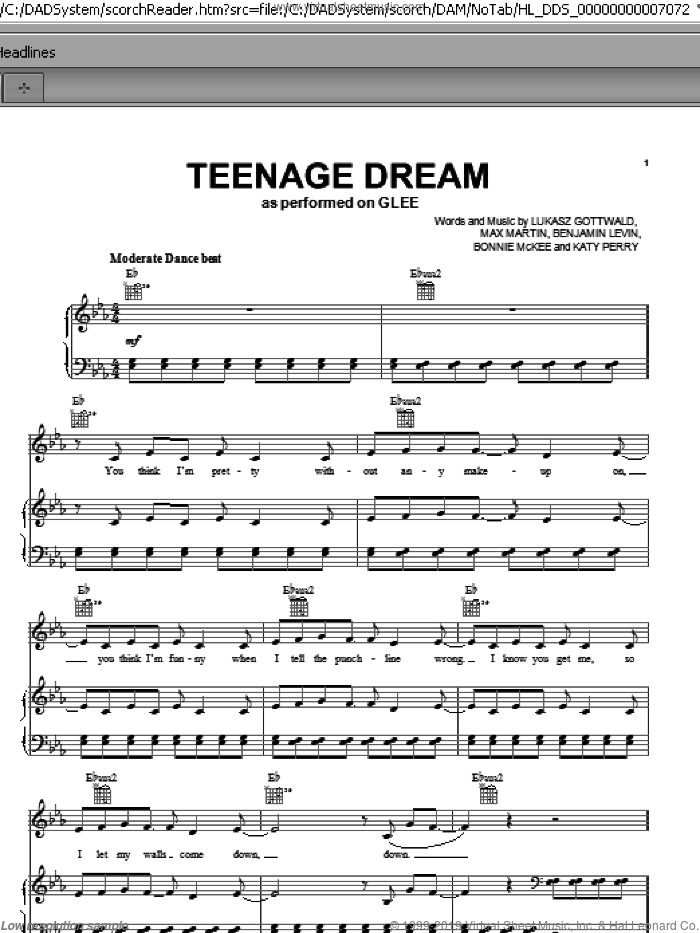 Teenage Dream sheet music for voice, piano or guitar by Max Martin, Miscellaneous, Benjamin Levin, Bonnie McKee, Glee Cast, Katy Perry and Lukasz Gottwald. Score Image Preview.