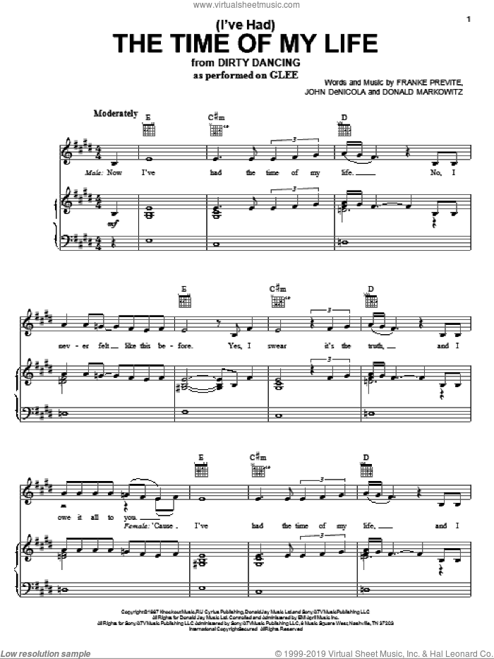 (I've Had) The Time Of My Life sheet music for voice, piano or guitar by Glee Cast, Bill Medley & Jennifer Warnes and Miscellaneous, intermediate. Score Image Preview.