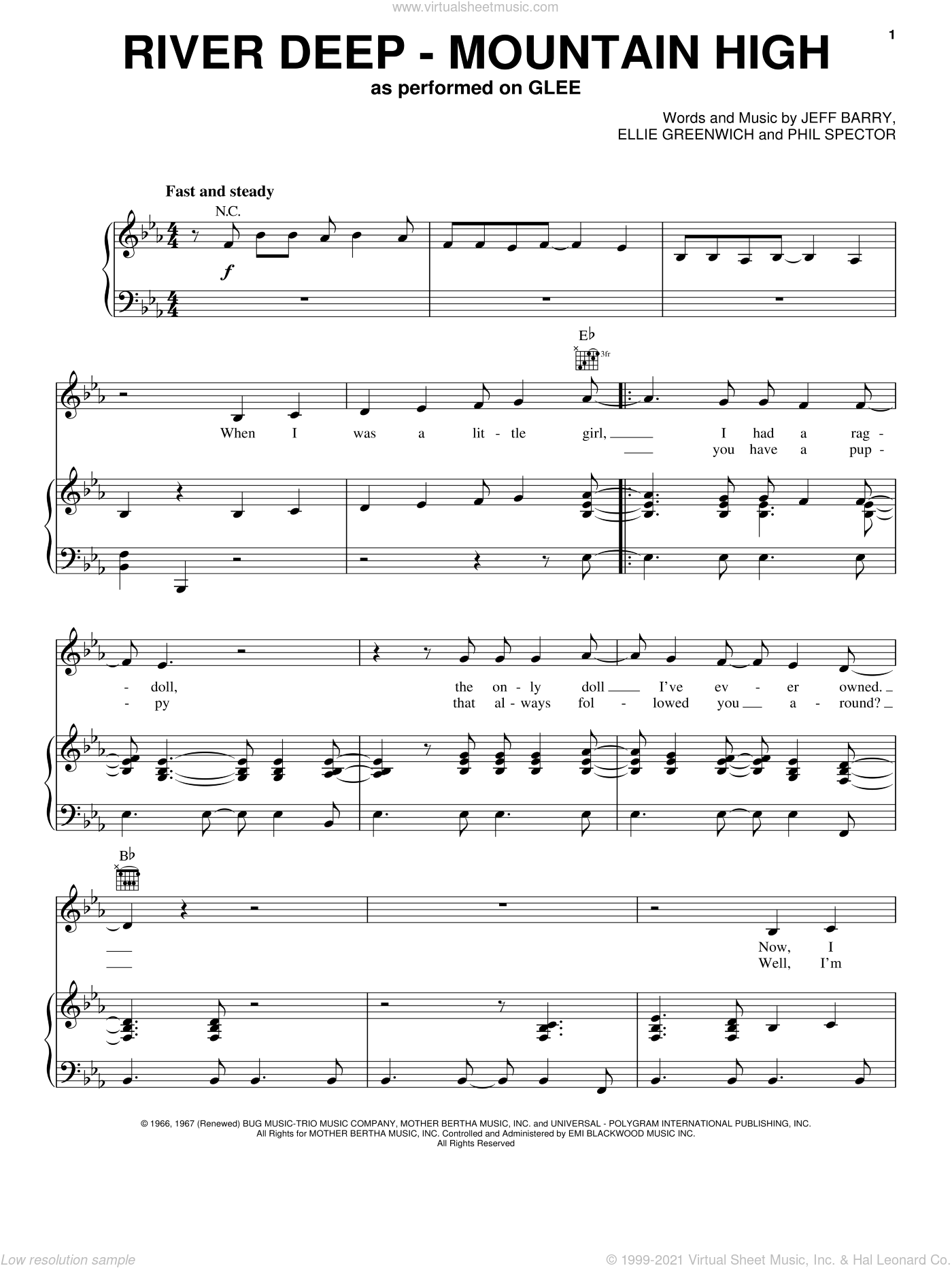 River Deep - Mountain High sheet music for voice, piano or guitar by Phil Spector, Celine Dion, Miscellaneous, Tina Turner, Ellie Greenwich, Glee Cast and Jeff Barry. Score Image Preview.